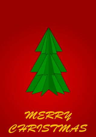 Green Christmas tree on red background Vector