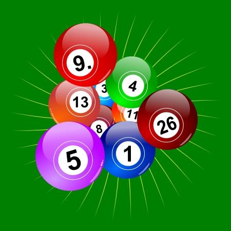 lottery: Kleurrijke winnende loterij ballen als een illustratie Stock Illustratie