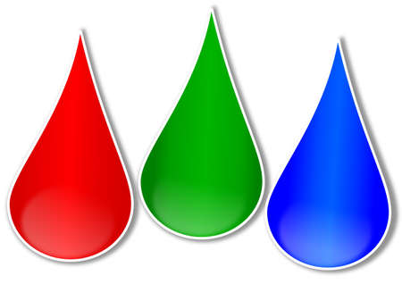 Red, green and blue drop - rgb - illustration  Vector