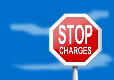 Stop sign charges on a blue background Illustration