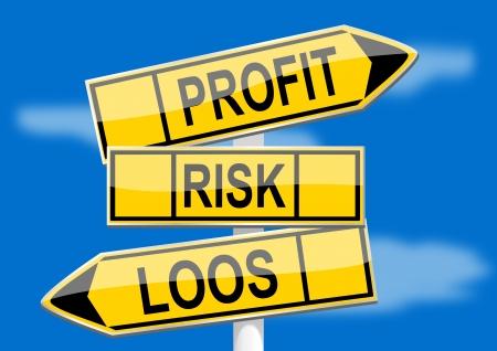 profit and loss: Signpost con direzione profitto indicatori, il rischio, la perdita di