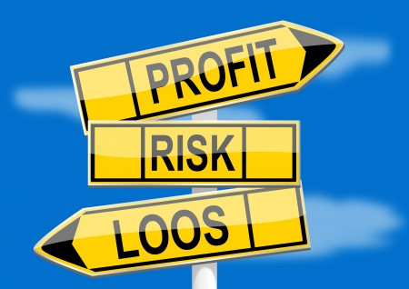 profit loss: Signpost with direction indicators profit, risk, loss Illustration