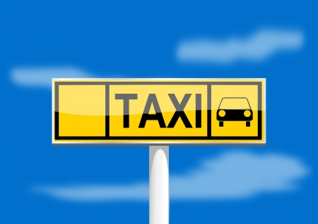 Brand taxi on the column on the blue background Stock Vector - 16446178