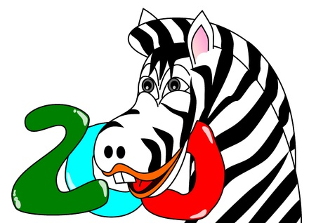 Zebra head with the inscription Zoo - illustration Stock Vector - 16446181