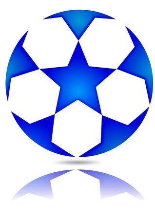Soccer ball with blue stars with reflection in the mirror Stock Vector - 16481451