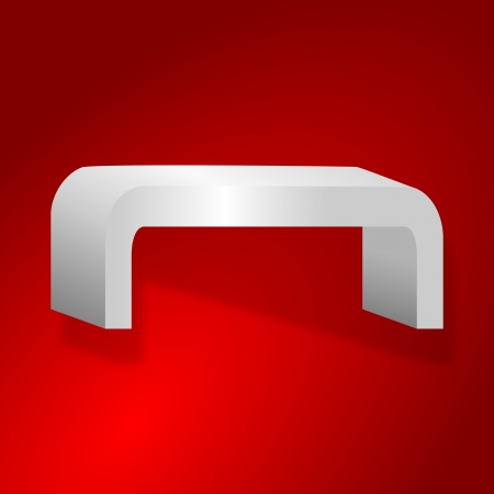 Rounded shelves on a red background - illustration Vector