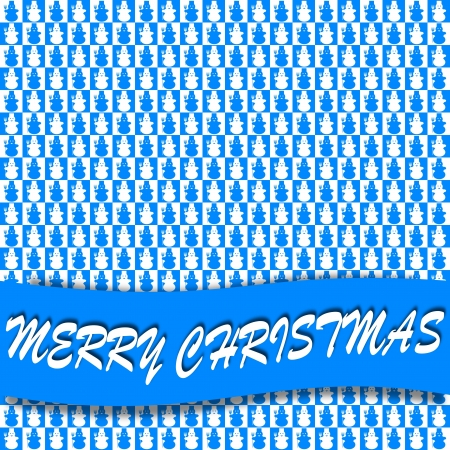 Blue and white squares with snowmen - merry christmas Vector