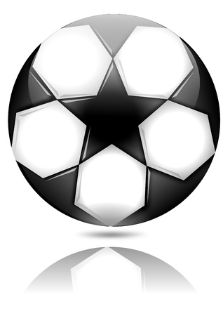 Soccer ball with black stars with reflection in the mirror  Illustration