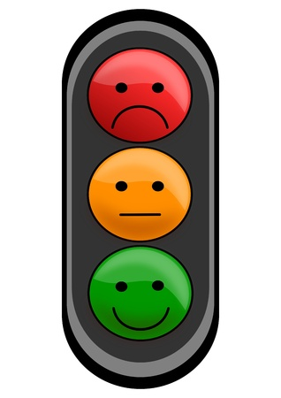 señales de transito: Semáforo smileys sólo para los niños como una ilustración Vectores