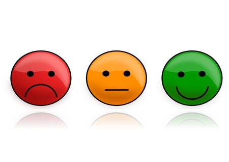 Three smilies as an illustration of traffic light