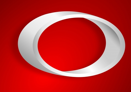 Shelf in the shape of an ellipse on a red background Illustration