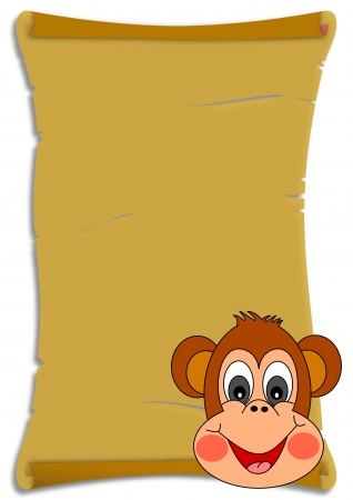 Rolled paper with a monkey for kids - illustration Vector