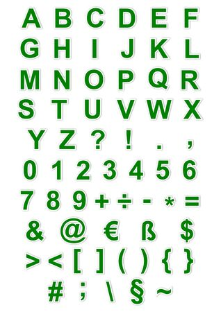 Green alphabet, numbers and characters as illustrations Vector