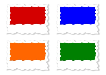 jagged: Four colored jagged labels as an illustration