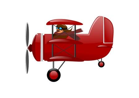 パイロットと歴史的な飛行機 - 赤い三葉機  イラスト・ベクター素材