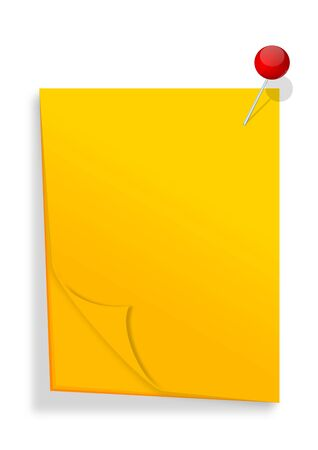 Yellow paper with red pin as an illustration Stock Vector - 16850530