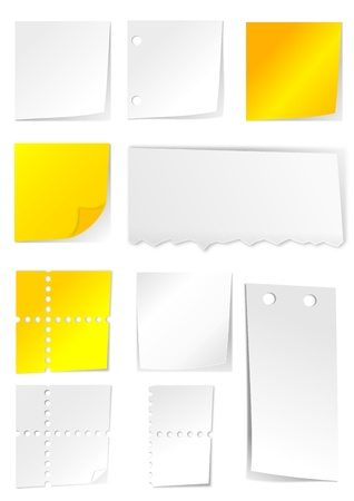 curled up: White and yellow paper with holes - illustration