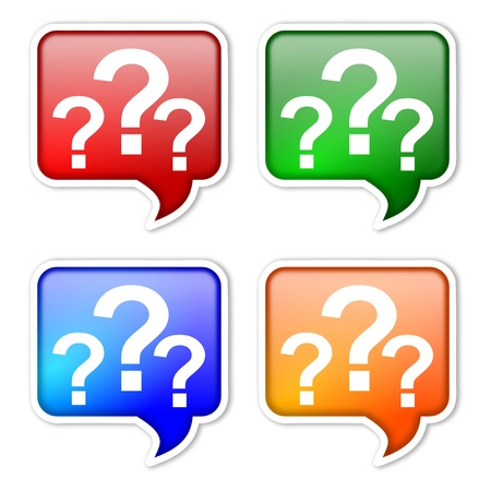 interrogative: Etiquetas de colores con signos de interrogaci�n como ilustraci�n