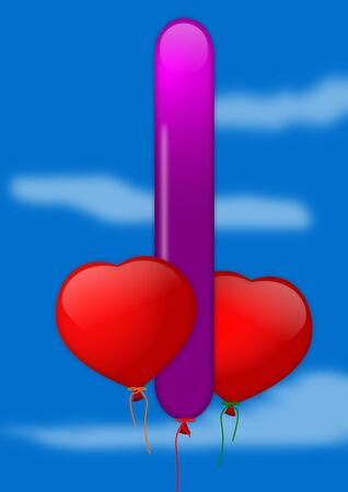 Red and purple inflatable heart balloon on a blue background - illustration Vector