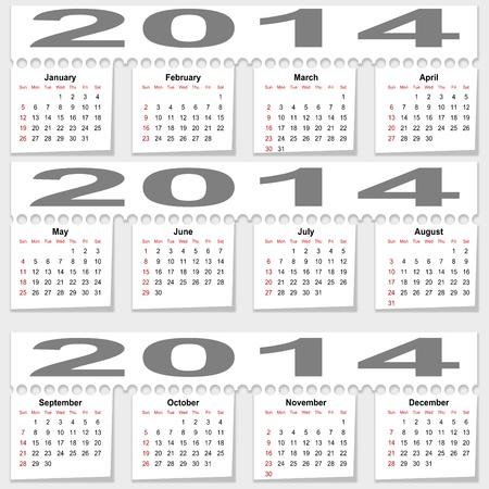 Bursting monthly calendar for 2014 - illustration Stock Vector - 16983725