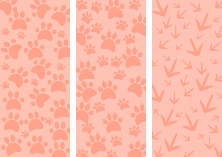 Animal tracks as three different background - illustration illustration