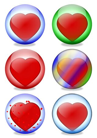 Colored glass balls inside a heart - illustration Stock Vector - 17036946