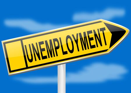 best employee: Directional arrow with the inscription unemployment - illustration Illustration