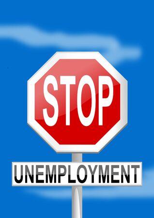 unemployment: Se�al de tr�fico parada de desempleo en el fondo azul - ilustraci�n