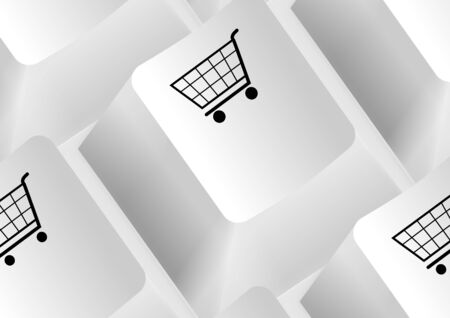 Keyboard with shopping carts as an illustration Vector