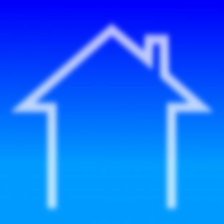 Indistinct house with a chimney on blue  Vector