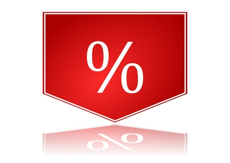 Red arrow with percentages in the mirror - Illustration Vector
