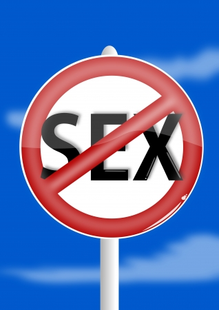 sex traffic: Ban sex on a blue background - illustration