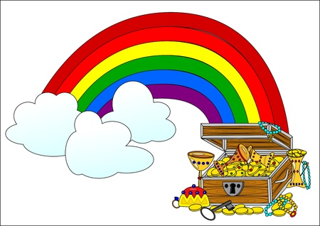Big treasure chest and rainbow - illustration Vector