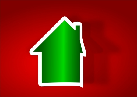 Green house as a sticker on a red background - illustration Vector