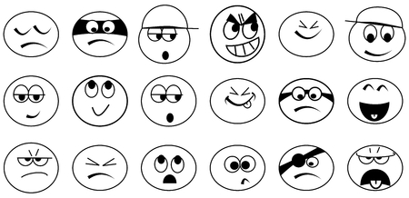 Various simple black and white emoticons - illustrations Vector