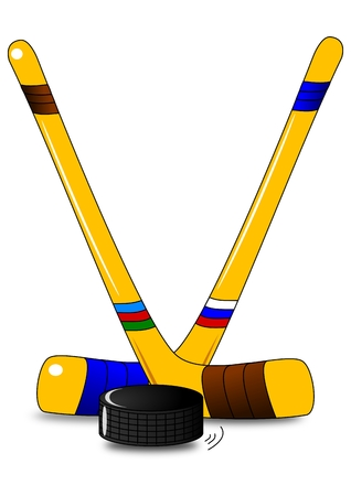 face off: Ice hockey - two hockey sticks and puck Illustration