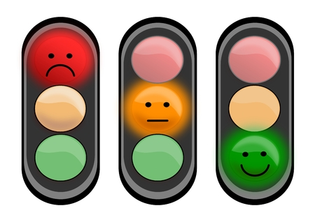 Three traffic lights with smiley faces