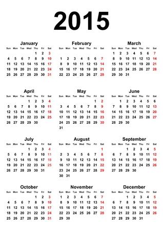 カレンダー 2015年用白