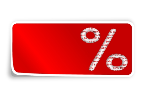 percentage sign: The label is a percentage sign on red background - vector