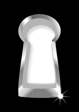keek: Silver keyhole on a black background - vector Illustration