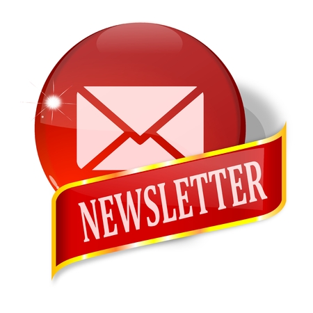 Ball and plate with the words newsletter - vector