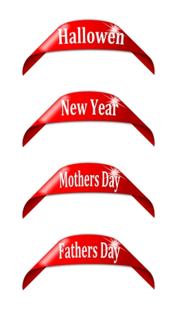 hallowen: Red labels with the names of holidays - hallowen, new year, mothers day, fathers day Illustration