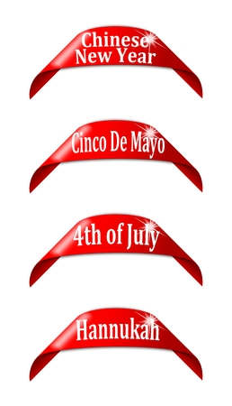 hannukah: Red labels with the names of holidays - chinese new year,cinco de mayo,4th of  july,hannukah