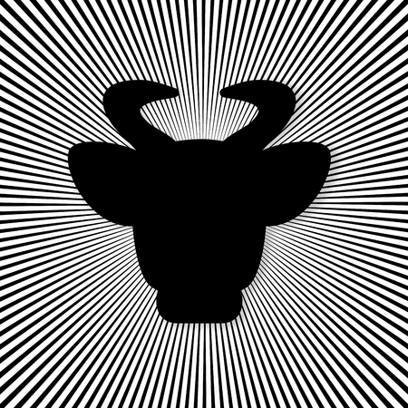 Head of a cow on the background of many lines - vector