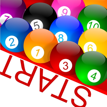 starting a business: Colorful billiard balls with numbers on the grid - vector
