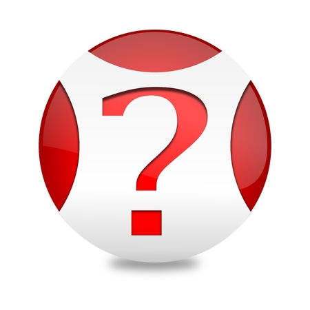 think tank: Red ball with white jerseys and question mark - vector