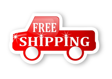 Red truck with a sign free shipping - vector Vector