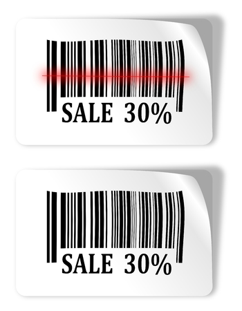 Two labels with bar codes and sale sign - vector  Vector