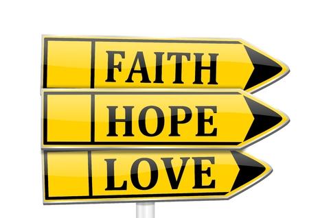 geloof hoop liefde: Drie pijlen met de woorden geloof, hoop, liefde - vector