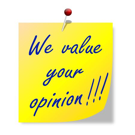 The paper with the words  we value your opinion